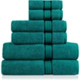 Cotton Craft Ultra Soft 6 Piece Towel Set Teal, Luxurious 100% Ringspun Cotton, Heavy Weight & Absorbent, Rayon Trim - 2 Over