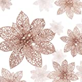 36 Pieces Christmas Glitter Poinsettia Flowers Artificial Flowers Wedding Glitter Christmas Tree New Year Ornaments (Rose Gol