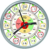 Educational Wall Clock - Silent Movement Time Teaching Clock for Teacher's Classrooms and Kid's Bedrooms (Silver/Multicolor A