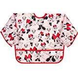 Bumkins Disney Minnie Mouse Sleeved Bib / Baby Bib / Toddler Bib / Smock, Waterproof, Washable, Stain and Odor Resistant , 6-
