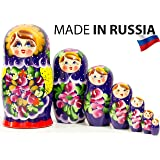 Russian Nesting Doll - Traditional POLKHOV MAIDAN - Hand Painted in Russia - Medium Size - Wooden Decoration Gift Doll - Matr