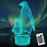 Penguin 3D Night Light for Kids, 16 Colors Changing Illusion Lamp with Remote Control Dim Function 4 Flashing Mode, Kids Bedr