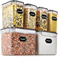 Airtight Food Storage Containers - Wildone Cereal & Dry Food Storage Container Set of 6(Black Lid), Leak-proof & BPA Free, Wi