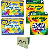 Crayola Washable Kids Paint 6 Count, Pack of 2 Ultra-Clean Washable Markers 8 Count, Pack of 2 | Includes 5 Color Flag Set