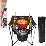 Tailgating Table- Collapsible Folding Camping Beach Table with Insulated Cooler, Food Basket and Travel Bag for Barbecue, Pic