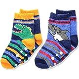 Jefferies Socks boys 1174 Dinosaur and Shark Fuzzy Non-skid Slipper Socks 2 Pair Pack Socks - multi