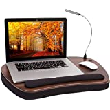 Sofia Sam Oversized Wood Top Memory Foam Lap Desk with Detachable USB Light and Tablet Slot (Black) Supports Laptops Up To 20
