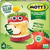 Mott's No Sugar Added Applesauce, 3.2 Ounce (Pack of 24) Clear Pouch, 4 Count, Perfect for on-the-go, No Added Sugars or Swee