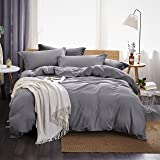 Dreaming Wapiti Duvet Cover Queen,100% Washed Microfiber 3pcs Bedding Duvet Cover Set,Solid Color - Soft and Breathable with