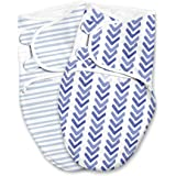 SwaddleMe Luxe Easy Change Swaddle – Size Small/Medium, 0-3 Months, 2-Pack (Watercolor Indigo )
