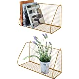 MyGift Wall-Mounted Gold-Tone Metal Perforated Hanging Shelves, Set of 2