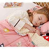 BUZIO Weighted Blanket 7 lbs for Kids, Ultra Cozy Minky Dotted and Cotton Sided with Cartoon Patterns, Heavy Blanket Great fo