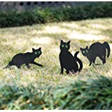 Homarden Garden Scare Cats – Humane Control Outdoor Statues with Reflective Eyes (Set of 3)