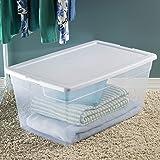 Sterilite 16668004 90 Quart/85 Liter Storage Box, Clear with a White Lid, 4-Pack