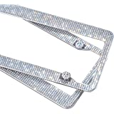 2 Pack Handcrafted Bling Crystal Premium Stainless Steel License Plate Frame (Crystal)
