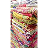 5 Pieces Mix Lot of Indian Tribal Kantha Quilts Vintage Cotton Bed Cover Throw Old Sari Assorted Patches Kantha Quilts Bed Co