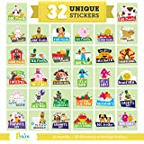 Massive Pack of 32 Baby Stickers, 12 Baby Monthly Stickers, 20 Popular Milestones Baby Stickers, Record Your Baby's Growth, H