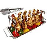 MamAnya's Useful Things Chicken Leg Wing Rack Stainless Steel for Grill Smoker or Oven with Food Tongs and Drip Pan for Veget
