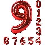 40インチヘリウムバルーンレッドバロン数字0-9(ゼロナイン)マイラー誕生日パーティーのアラビア数字の装飾9