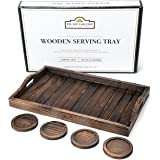 Trays for Coffee Table and 4 Coaster Set 20 x 12 inch Rustic Wooden Tray, Leakproof Wood Coasters Ottoman Tray for Coffee Tab