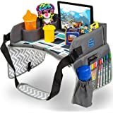 Kids Travel Play Tray by KENLEY KIDS | Car Seat Activity Tray | Waterproof, Food & Snack Tray with Tablet/iPad/Cup Holder | B