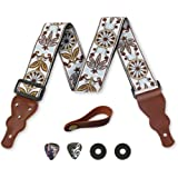 Guitar Strap Unique Vintage Woven W/ FREE BONUS- 2 Picks + Strap Locks + Strap Button. For Bass Electric & Acoustic Guitars.