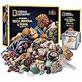 NATIONAL GEOGRAPHIC Rocks & Fossils Kit – 200+ Piece Set Includes Geodes, Real Fossils, Rose Quartz, Jasper, Aventurine & Man