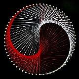 ストリングアートキット 陰陽デザイン 64ピン20cm角釘打ち板 18色糸セット 作り方マニュアル付き 糸かけアート 糸かけ曼荼羅