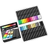 Acrylic Paint Pens 30 Assorted Markers Set 3.0mm Medium TIP for Rock, Glass, Mugs, Porcelain, Wood, Metal, Fabric, Canvas, DI