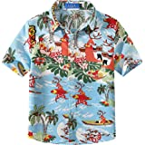 SSLR Big Boys' Santa Claus Party Tropical Ugly Hawaiian Christmas Shirts