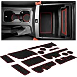 Custom Fit Cup, Door, Console Liner Accessories Kit for Ford Ranger 2019+ (Crew Cab, Red Trim)