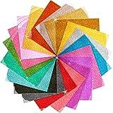 Glitter Heat Transfer Vinyl, Ohuhu 19 Pack Sheets Iron on Vinyl, 19 Assorted Colors HTV Vinyls Heat Transfer Vinyl for DIY Ir