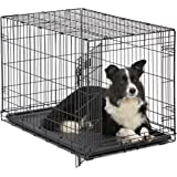 Dog Crate | Midwest ICrate 36 Inch Folding Metal Dog Crate w/Divider Panel|Intermediate Dog Breed, Black