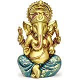 Ganesha Statue Elephant Hindu God of Success Large 9.5-inch-tall Resin Ganesh Idol Hand-Painted in Gold Indian Decor Perfect