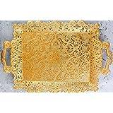 Asia Turkish Ottoman Coffee Tea Serving Tray - Vintage Decorative Gold for Outdoor Dresser Espresso