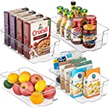 Refrigerator Organizer Bins, Vtopmart 4 Pack Large Clear Plastic Food Storage Bin with Handle for Freezer, Cabinet, Fridge, K