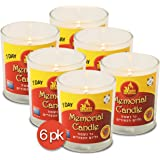 1 Day Yahrtzeit Candle - 6 Pack - 24 Hour Kosher Memorial and Yom Kippur Candle in Glass Jar - by Ner Mitzvah