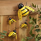 The Lakeside Collection Decorative Metal Bumble Bee Garden Accents - Lawn Ornaments - Set of 4