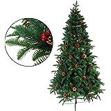 クリスマスツリー 枝大幅増量タイプ 松ぼっくり付き、赤い実付き、おしゃれな クリスマスツリー 180CM KSBM