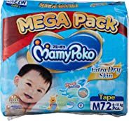 MamyPoko Extra Dry Tape Diapers, M, 72ct