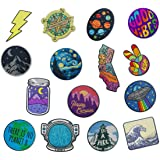 RipDesigns - Large Assorted Set of 15 Aesthetic, Cute and Cool Outdoors Iron On Patches for Jackets Backpacks Jeans and Cloth