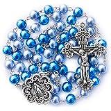 Big A Solutions Rosary Beads Catholic - Rosario - Handmade - Blue Rosary - Purple Rosary - Pink Rosary - Imitation Pearl - Fr