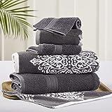 Amrapur Overseas   Artesia Damask 6 Piece Reversible Yarn Dyed Jacquard Towel Set (Platinum)