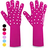 Oven Gloves Oven Mitts Heat Resistant to 932° | 1 Pair EN407 Designer BBQ Gloves Heat Resistant for Women with Extra Long Sle