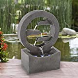 Pure Garden 50-LG1218 Round Cascade Fountain-4 Tier Polyresin Waterfall with LED Lights, Silver
