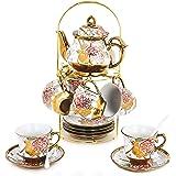 20 Piece European Ceramic Tea Set Porcelain Tea SetWith Metal Holder,Flower Tea Set Red Rose Painting