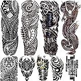 Rejaski 9 Sheets Long Large Black Full Sleeve Temporary Tattoos For Men Women Tribal Maori Dragon Lion Tatoos Realistic Mecha