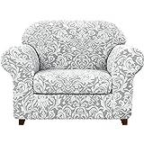 Subrtex 2-Piece Spandex Stretch Sofa Slipcover (Chair, Light Smoky Gray)