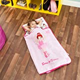 EVERYDAY KIDS Toddler Nap Mat with Removable Pillow - Rollup and Close with Velcro Straps, Carry Handle, Soft Microfiber for