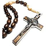 Made in Italy Rosary Blessed by Pope Francis Vatican Rome Holy Father Medal Cross Saint Benedict Patron Saint of Students, Ch
